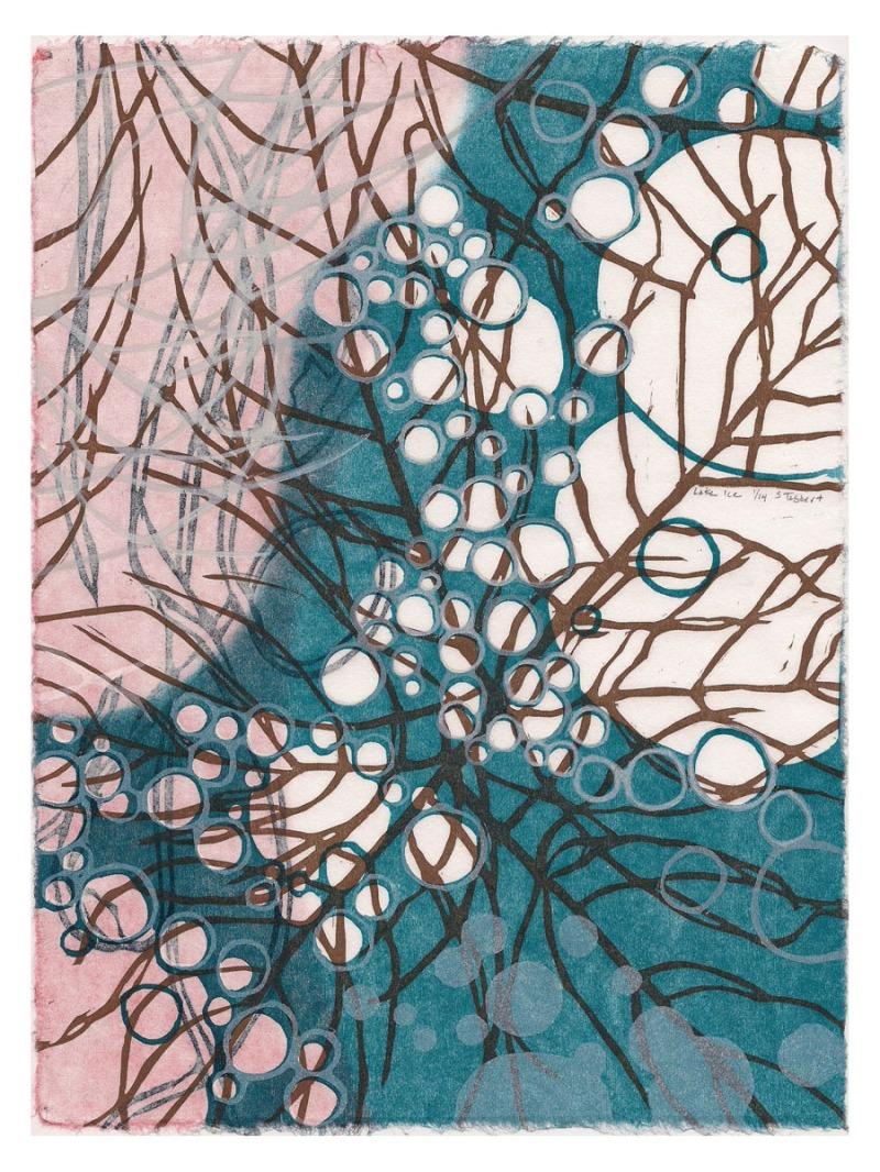 Lake Ice, color woodcut